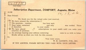 1926 COMFORT MAGAZINE Postcard Subscription Renewal / Receipt Augusta Maine