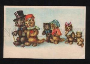 056621 Dressed CATS Family KITTEN vintage PC