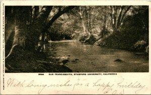 Vtg Postcard 1905 IDB San Francisquito Creek Stanford University CA Ed Mitchell