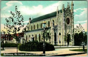 1909 Baltimore, Maryland Postcard Corpus Christi (Jenkins Memorial) Church