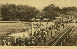 straits settlements, SINGAPORE, Chinese Procession (1910s) Postcard