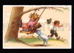 046145 Girl w/ TEDDY BEAR on SWING & Goat vintage