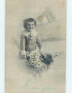 Pre-Linen foreign FRENCH CHILD WITH DAISY FLOWERS PETS BABY LAMB HL7737