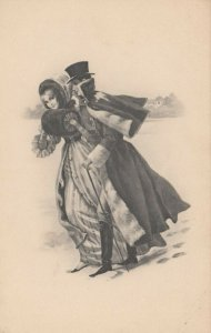 AS; M.M. Vienne Nr 391 (M MUNK), 1900-10s; Man & Woman iceskating