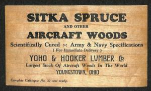 Youngstown OH Sample of Sitka Aircraft Woods Made Into A Postcard RARE