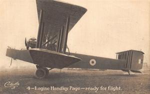 Airplane~4 Engine Handley Page Close Up~2 Men & Gun~TUCK Carbonette WWI PC~1917