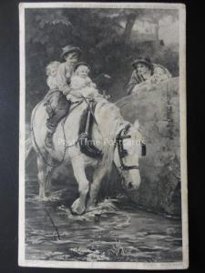 Country Theme Depicts SHIRE HORSE & CHILDREN IN THE RIVER c1905 Postcard