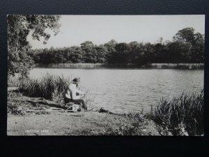 Norfolk FRITTON LAKE showing Man Fishing in Lake c1950/60's RP Postcard