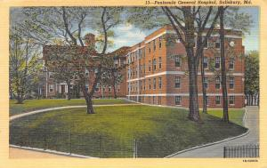 Peninsula General Hospital, Salisbury, Maryland,  Early Linen Postcard, Unused