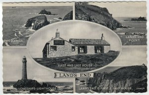 Cornwall; Lands End Multiview PPC Unposted, c 1950's, Shows First & Last House