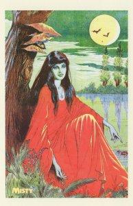 Misty Fantasy Art Red Dress Gothic Vampire Horror Comic Postcard