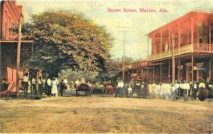 Marion AL Street View Old Cars Store Fronts Mickleboro Postcard