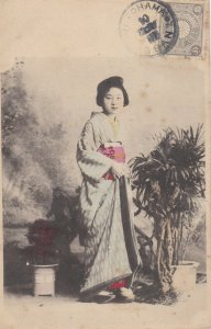 1904 Pretty Asian Japan Girl Lady On Postcard Japanese Chrysanthemum Fine Stamp