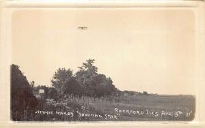 Rockford IL Jimmy Ward's Shooting Star August 5, 1911 Airplane RPPC Postcard
