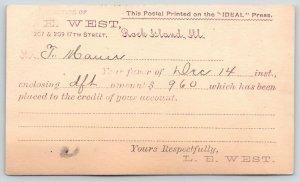 Rock Island Illinois~LE West Co~Wholesale Camera Supplies~Flags~1891 Postal Card