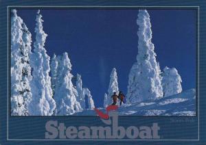 Snow Skiiers Tree Skiing Down Storm Peak, Steamboat, Denver Colorado 1987