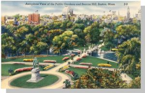 Boston,Mass/MA Postcard,Aerial Of Public Gardens/Beacon Hill