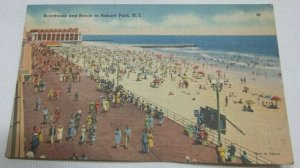 Boardwalk And Beach at Asbury Park, New Jersey No. 67 Vintage Postcard 1907-1914