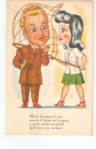 Man caught in a woman nest Humorous Spanish postcard 1950s