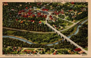 Ohio Conneaut Aerial View Showing Viaduct and Business Section Curteich