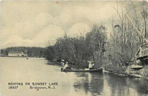 Bridgeton New Jersey~Boating On Sunset Lake~Road Bridge~1910 B&W Postcard