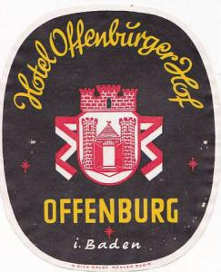 GERMANY OFFENBURG HOTEL OFFENBURGER HOF VINTAGE LUGGAGE LABEL