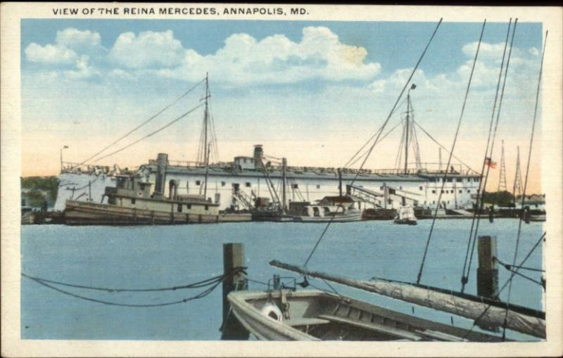 Annapolis MD Naval Academy Reina Mercedes Ship c1920 Postcard