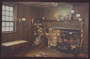BOSTON MA Paul Revere House Kitchen Spinning Wheel Interior Postcard Fireplace