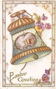 Easter~Teal Peach Ornate Bell~Purple Pansies~Gold Leaf Emboss~Ivy Border~Emboss