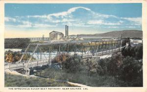 Salinas California Spreckels Sugar Beet Refinery Antique Postcard K13766