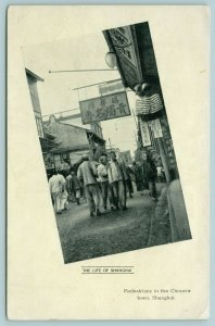 Shanghai China~Street Scene, Shops, Lanterns,Caps, Clothing Store~Signs~B&W 1910