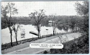 COSHOCTON, Ohio  OH    Lake Park  BATHING BEACH    Postcard