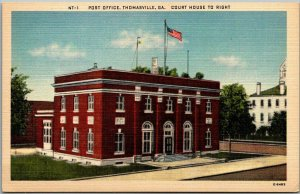Thomasville, Georgia Postcard POST OFFICE Street View Asheville Linen c1940s