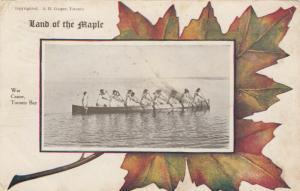 TORONTO, Ontario , 1909 ; Rowing , War Canoe in bay