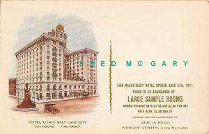 1911 Salt Lake City Utah PC: Early Hotel Utah Advertising, Relf Management