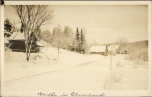 Blanchard ME Homes in Winter Real Photo Postcard