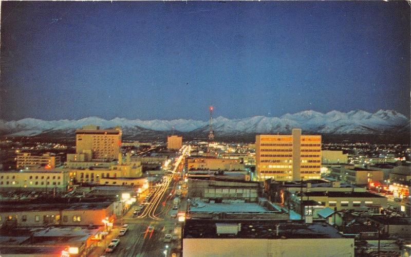 Anchorage Alaska~Bird's Eye View @ Twilight~Chugach Mountains in Distance~1967
