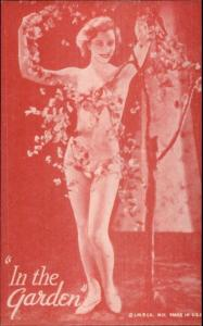 Nude Sexy Showgirl Pin-Up Exhibit Mutoscope Card RED TINT SERIES IN THE GARDEN