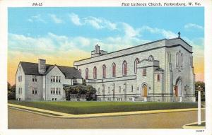 Parkersburg West Virginia~First Lutheran Church~1939 Linen Postcard