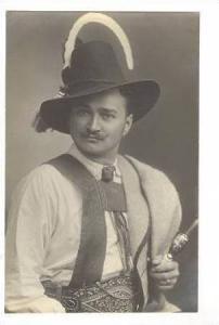 RP,Man In Native Attire Holding Pipe,Austria,00-10s