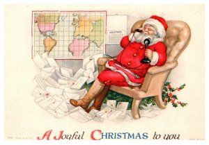 Santa Claus sitting, mail all around