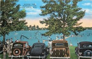 Adrian Michigan~Wamplers Lake~Bathing Time~Very Nice 1930s-40s Cars