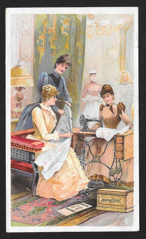 VICTORIAN TRADE CARD Domestic Sewing Co Three Fancy Ladies at Sewing Machine