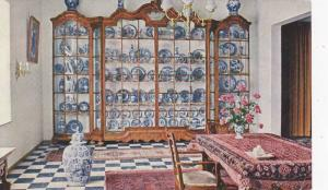 Royal Delftware Factory De Porceleyne Fles Museum, China cabinet with antiq...