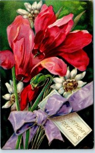 Vintage1910s BIRTHDAY Greetings Postcard w/ Colorful Red & White Flowers UNUSED