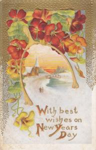 Colorful Flowers, With Best Wishes On NEW YEARS DAY, 1900-1910s