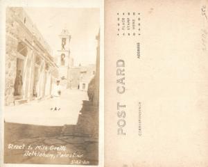 BETHLEHEM PALESTINE STREET TO MILK GROTTO ANTIQUE REAL PHOTO POSTCARD RPPC