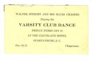 Cleveland Hotel, Walter Speight and his Blues Chasers, Varsity Club Dance, Sp...
