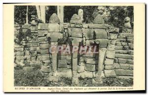 Old Postcard D Angkor ruins Detail elephants