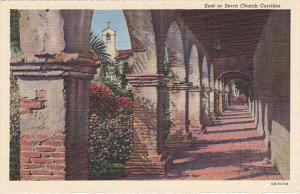 East or Serra Church Corridor Mission San Juan Capistrano California Curteich